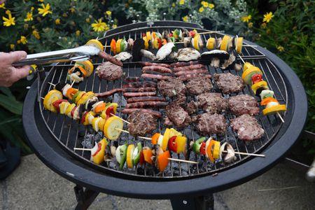 Carne y vegetales a la parrilla